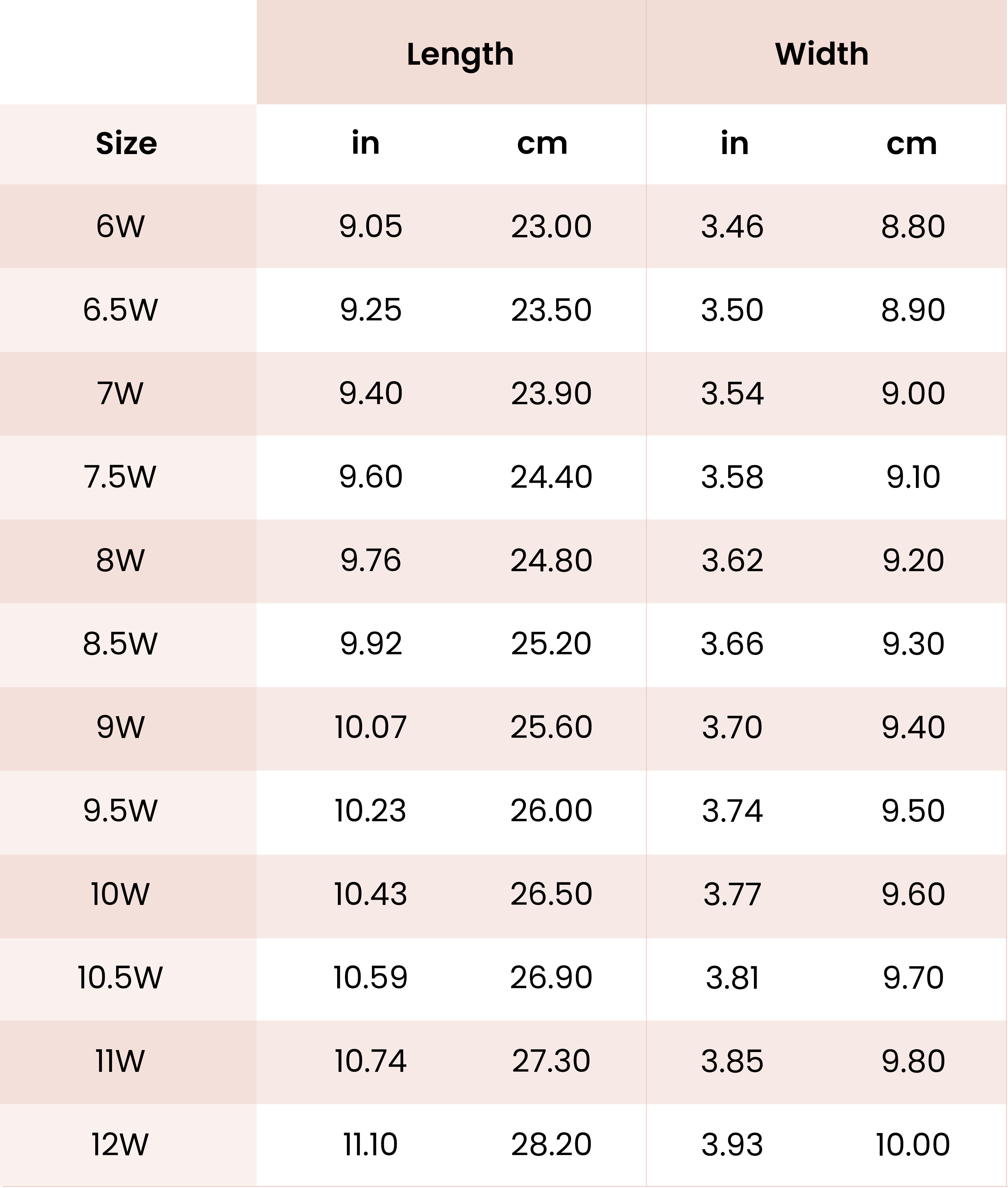 Wide Size Chart