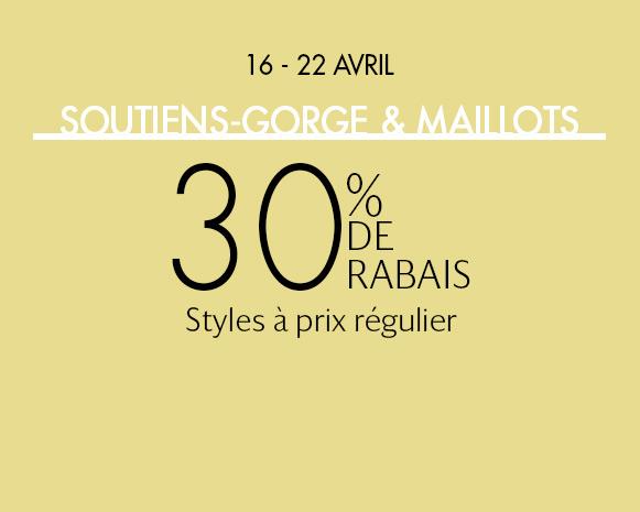 SOUTIENS-GORGE & MAILLOTS: 30 % DE RABAIS