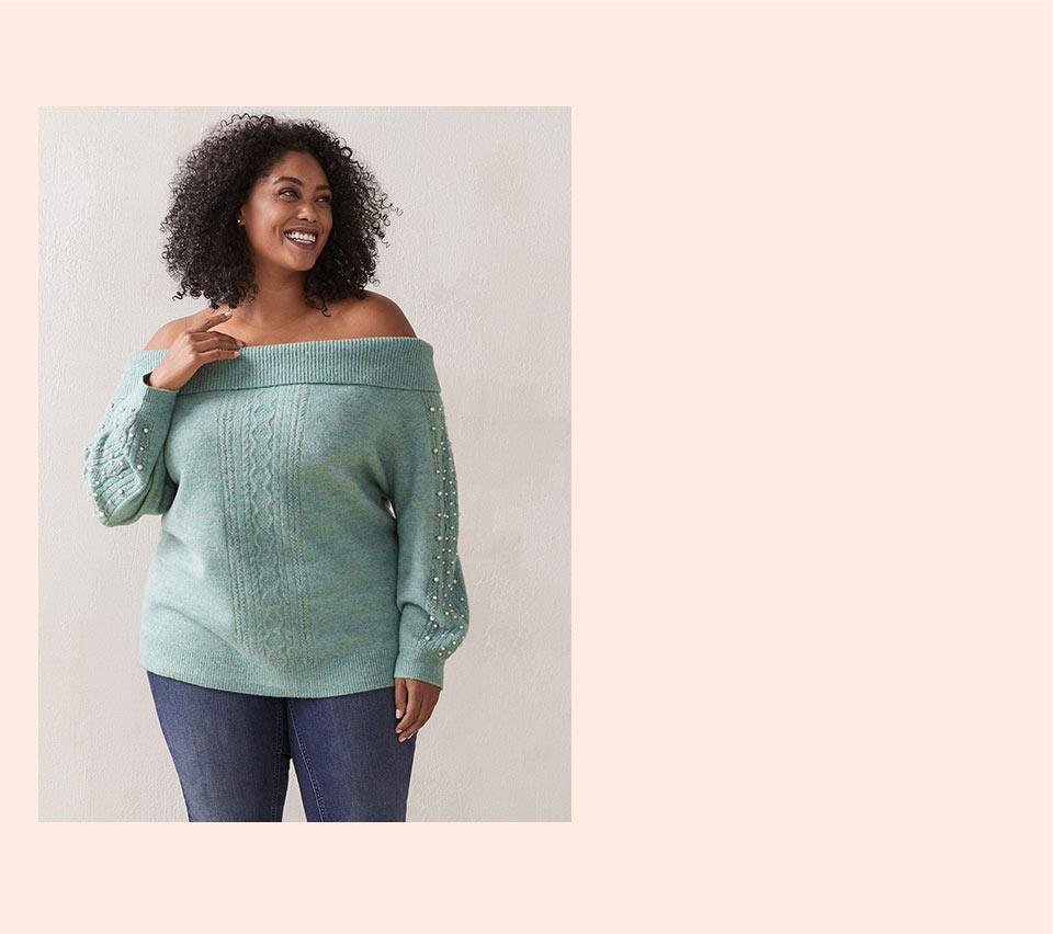 Chandail en tricot câblé à épaules dénudées - In Every Story